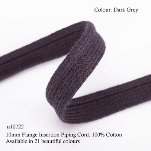 Neotrims 10mm Flange Insertion Binding Piping Cord 21 Colours 100/% Soft Cotton
