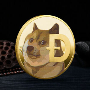 Color DOGE 1 Dogecoin Cryptocurrency Currency Pictured Gold Plated Coin BITCOIN