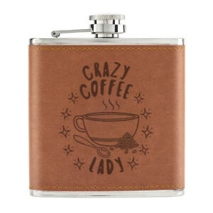 Crazy-Cafe-Lady-Stars-170ml-Cuir-PU-Hip-Flasque-Fauve-Maman-Mothers-Jour-Addict
