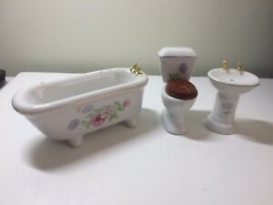 Image Is Loading Dolls House Bathroom Furniture Set White With Purple