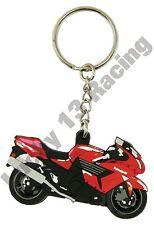 Kawasaki ZZR 1400 rubber key ring motor bike cycle gift keyring chain red