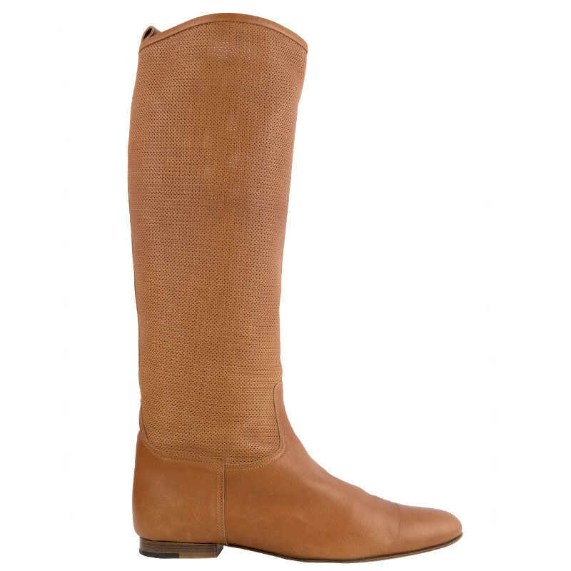 41749 auth Stiefel HERMES camel braun perforated leather Flat Knee-High Stiefel auth schuhe 40 8bc10c