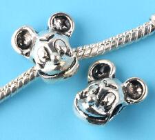 Fashion 2pcs Tibetan silver mouse Spacer beads fit European Bracelet Chain #D186