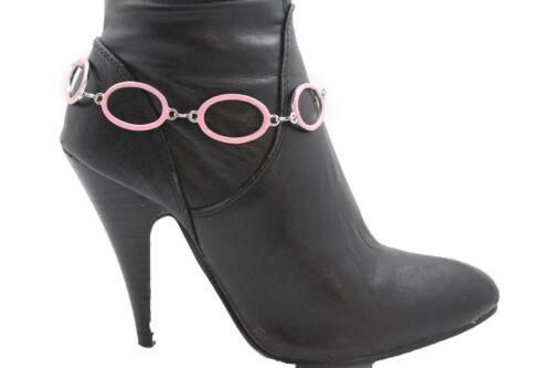 Women City Fashion Boot Bracelet Silver Metal Chain Pink Rings Anklet Shoe Charm