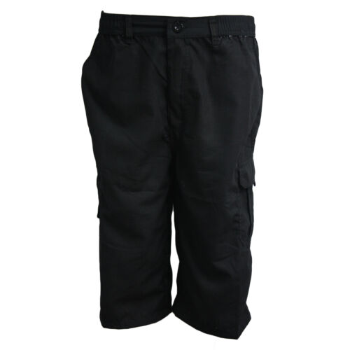 MENS PLAIN ELASTICATED SHORTS POLY COTTON CARGO COMBAT SUMMER CASUAL 3//4 PANTS