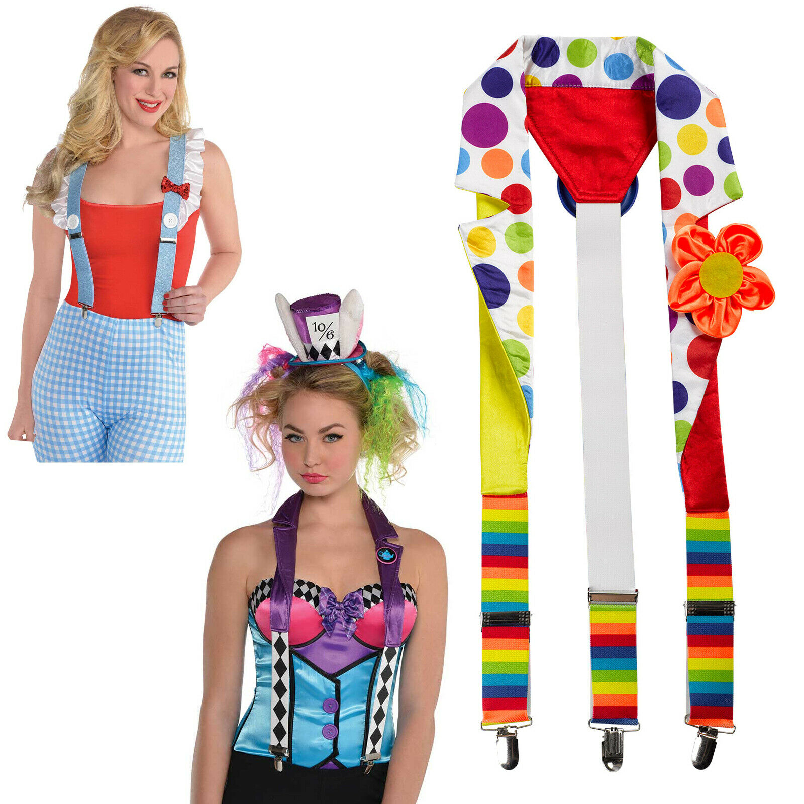 Braces Fancy Dress Suspenders Mad Hatter Dorothy Oz Clown Adult Women Halloween