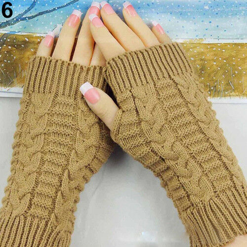 EG/_ Women Winter Soft Arm Warmer Long Fingerless Mitten Knited Soft Gloves Strik