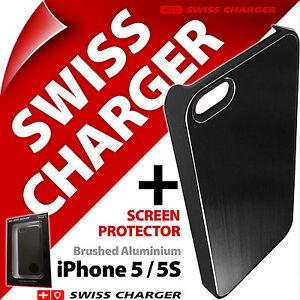 Swiss-Charger-boitier-en-Aluminium-brosse-a-Clipser-Etui-Coque-pour-iPhone-5-5S