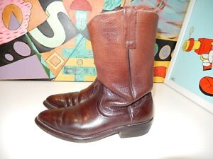 Vintage-Browning-dark-brown-Leather-cowboy-boots-size-9-B-USE-NICE