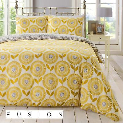 Fusion Ada Scandinavian Floral Easy Care Duvet Cover Bedding Set Ochre Mustard
