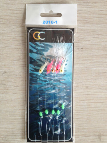 5Hooks2018-1 Mackeral Feathers Hokkai hockeye sea lures mini shrimp tinsel sea