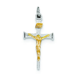 925 Sterling Silver Rhodium-plated /& 18k Gold Gold-plated Religious Cross Charm