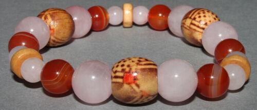 Bracelet Quartz rose et Cornaline Pierres et Bois