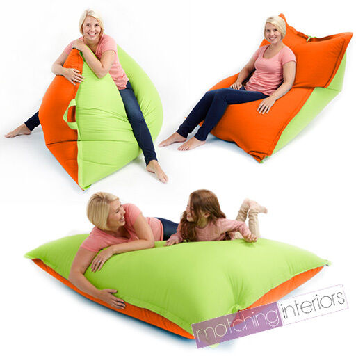 Lime Orange Bean Bag Slab XXL Giant Beanbag Floor Cushion Adult Indoor Outdoor