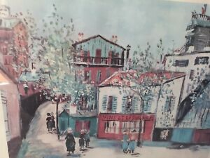 Vintage-Lithograph-Print-Maurice-Utrillo-034-Montmartre-034-16-034-X-19-034-1950s
