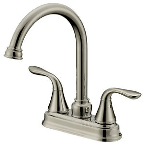 Long neck bar bathroom faucets lb6b brushed nickel finish for Bathroom fixtures brushed nickel finish