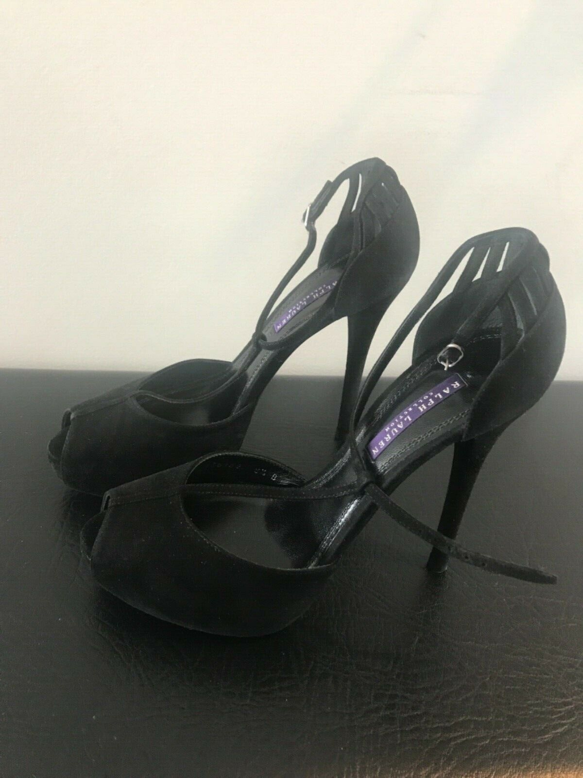 NIB RALPH LAUREN COLLECTION Black Suede High Heels 8.5