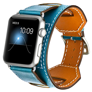 Blue Premium Genuine Leather Cuff Strap Band For Apple Watch Iwatch 38mm / 42mm Facile Et Simple à Manipuler