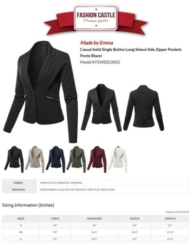 FashionOutfit Women/'s Casual Solid Single Button Long Sleeve Side Pockets Jacket