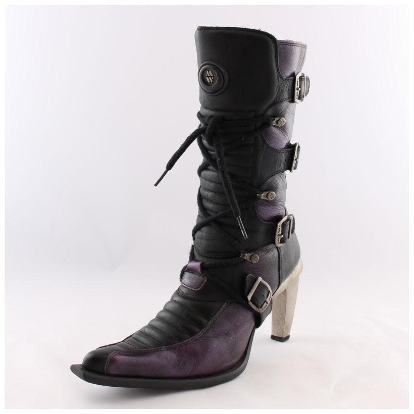 New Rock Stiefel Gr. 37 Malicia Stiefeletten schwarz lila mit Schnallen (#2461)