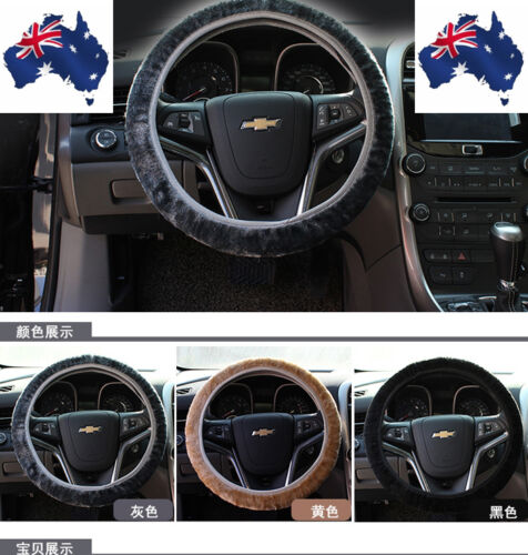 WARM SOFT SHORT PLUSH AUTO CAR STEERING WHEEL COVER GRIPS PROTECTOR