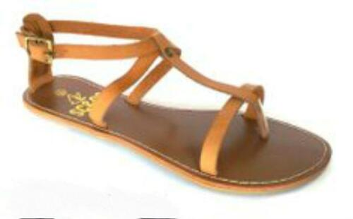 EU 37 FAUX LEATHER SHOES BEACH BNWT NEW LADIES SC/&CO TAN SANDALS IN SIZE 4