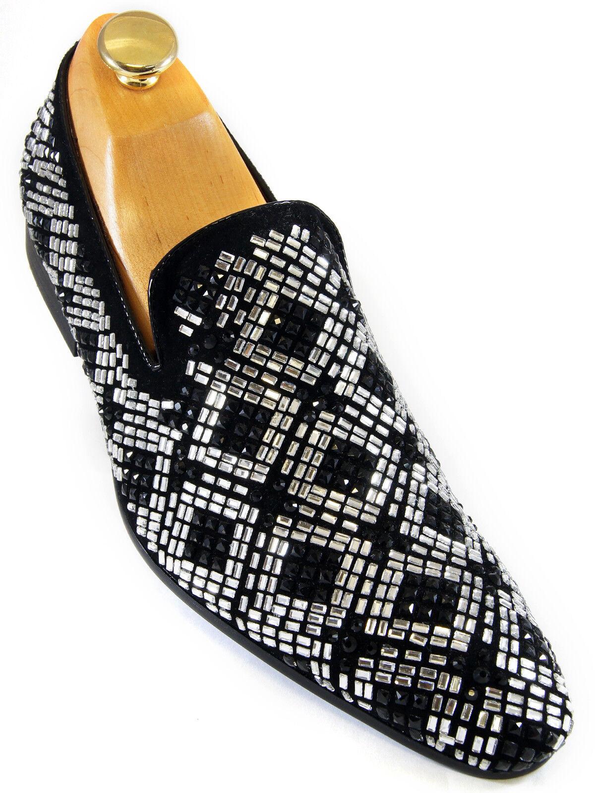 Zota Gamuza Para Hombre Negro Plata Rhinestone diseño animador Slipon Fiesta Diversión Zapato