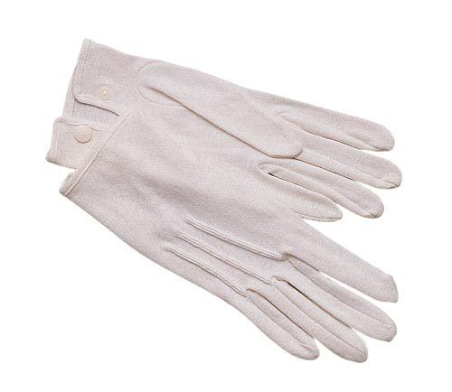 Sizes XSMALL to 2XL White Parade Gloves 100/% Cotton with Snap