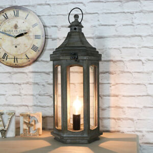 Vintage Antique Wooden Lantern Style Table Lamp Living