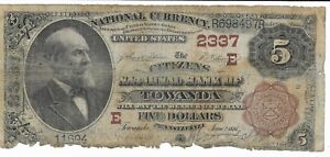 $5 1882 Towanda Pennsylvania National Currency Note Brown Seal and Brown Back