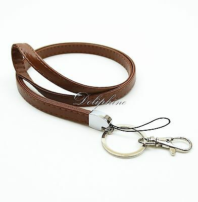 Heavy Duty Leather PU Necklace Lanyard with Key chain for ID badge holder