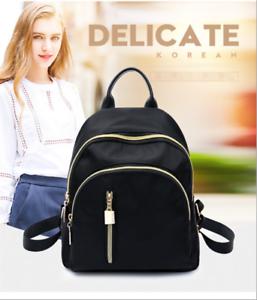 12b257236bdf Image is loading Fashion-Women-Small-Black-Backpack-Travel-Nylon-Handbag-