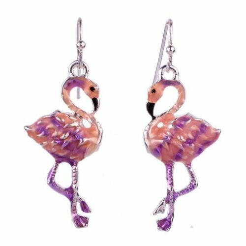 Nuevo Hermoso Tono Plata /& Esmalte Rosa Flamingo pendientes Reino Unido Vendedor