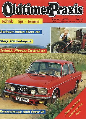 Automobilia Oldtimer Praxis 1990 9/90 Romeo 2 Rd 250 Indian Scout 101 Audi Super 90 Rd 250 Zeitschriften