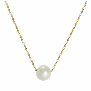 Real-375-9ct-Gold-amp-6mm-Pearl-Fine-1mm-Curb-Necklace-16-Inches-Pearls