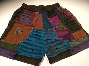 New-Ladies-Razor-Cut-Festive-Hippie-Shorts-Size-10-12