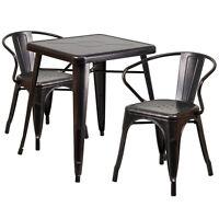 23.75'' Industrial Black Antique Gold Metal Indoor-outdoor Table Set W/2 Chairs