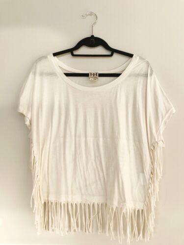 Haute Hippie Boho Fringe Short Sleeve Shirt Cotton