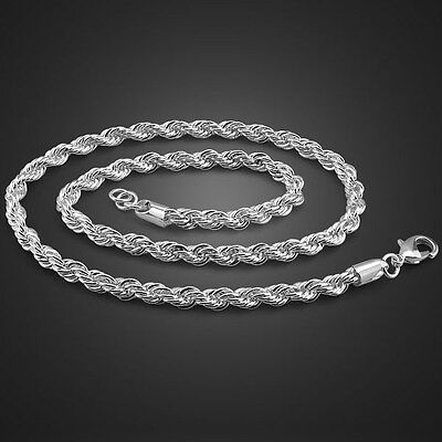 """Classic Solid Sterling Silver Twisted Chain Men's Necklace 5mm 19""""-24"""" PN153"""