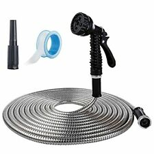 Toolflife 25ft Metal Garden Hose Stainless Steel Heavy Duty Water Hose With