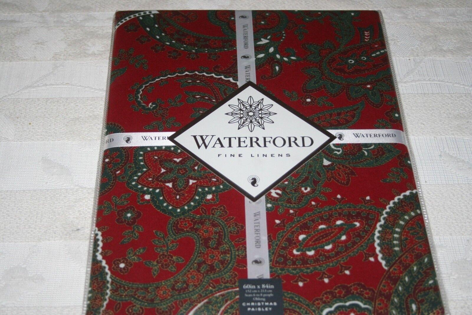 Waterford fine Linens Christmas Paisley tovaglia rosso verde oro 152 x 213 cm