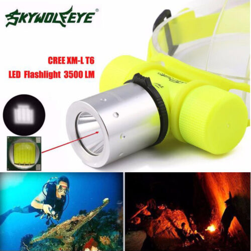 3500Lm T6 LED Waterproof Underwater Diving Head Lamp Flashlight Torch