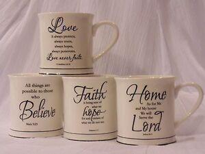 Faith Love Believe Home Bible Verses Coffee Mug Cup White New