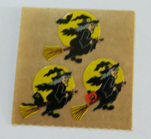 Square of Vintage Witches on Brown Backing Sandylion WITCHES ON BROOMS