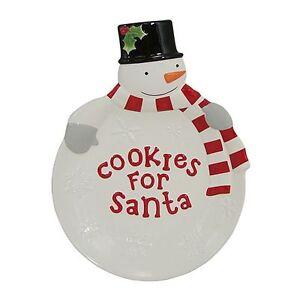 TREE LOT Cookies for Santa Plate St Nicholas Square Snowman Figural ...