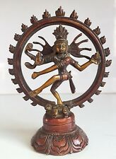 Rare Large 5'' Brass Natraj Double Ring Dancing Shiva Indian God