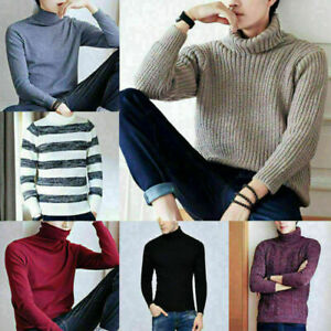 Hommes-hiver-Chaud-Casual-col-roule-Tricot-Pull-SLOM-Fit-Pullover-Knitwear-Jumper