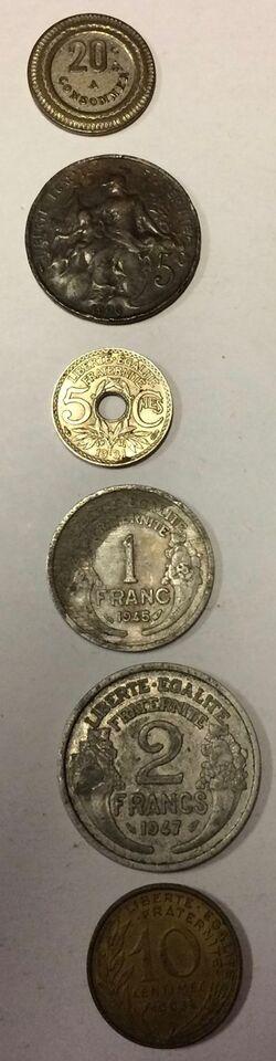 Vesteuropa, mønter, 1FRANC