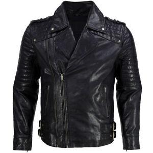 New-Men-Soft-Lambskin-Motorcycle-Biker-Casual-Leather-Jacket-Cafe-Racer-Vest-729