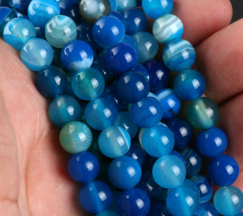 Natural Gemstone Round Blue agate Spacer Loose Beads 4 6 8 10 12mm Stones E008